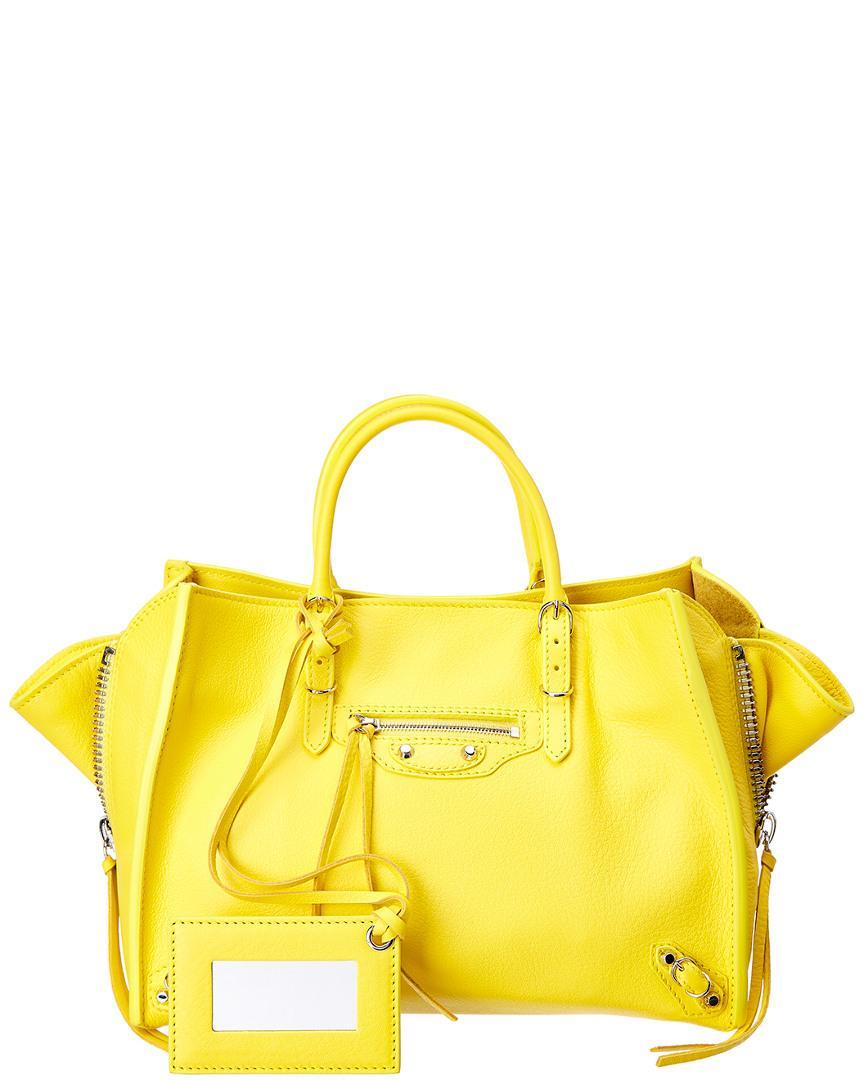 Balenciaga Papier A6 Zip Around Leather Tote In Yellow