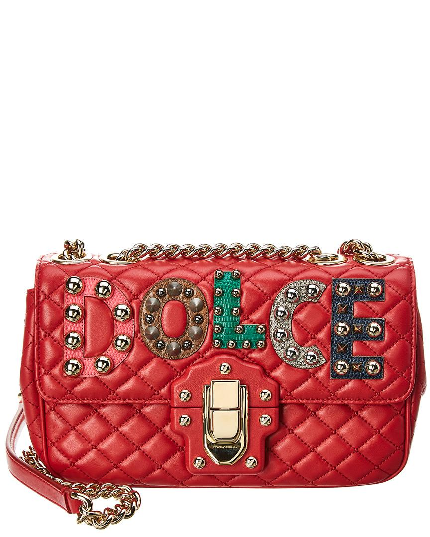 D & G Dolce & Gabbana Lucia Leather Shoulder Bag In Red