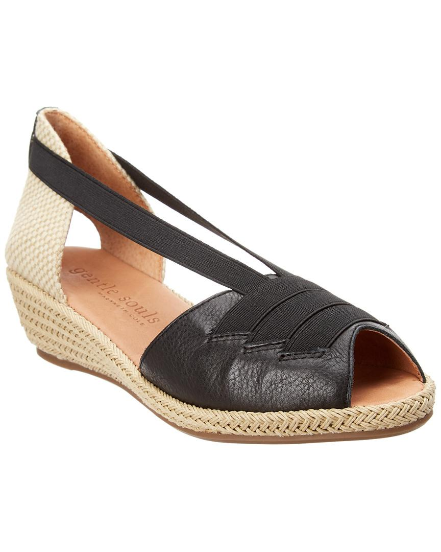 Gentle Souls Luci Leather Wedge Sandal In Nocolor