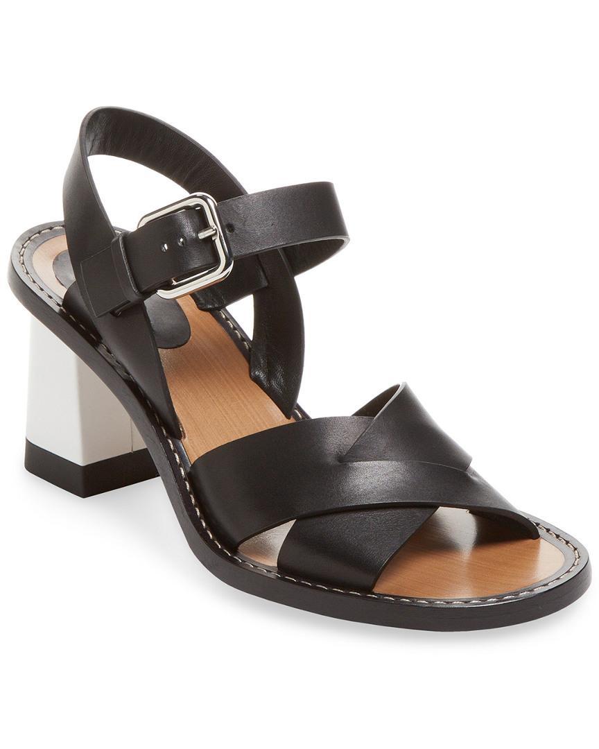 Jil Sander Block Heel Leather Sandal In Nocolor