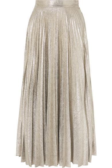Emilia Wickstead Sunshine Pleated Stretch-lurex Midi Skirt In Silver
