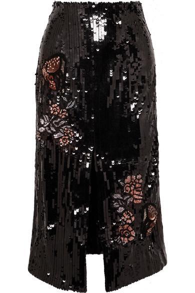 Markus Lupfer Charlie Sequined Tulle Midi Skirt In Black