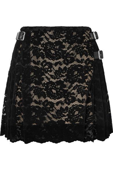Christopher Kane Pleated Flocked Lace Mini Skirt In Black