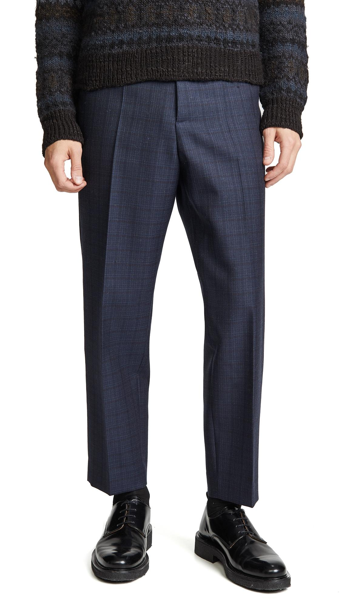 Marni Shadow Check Wool Trousers In Blue Navy