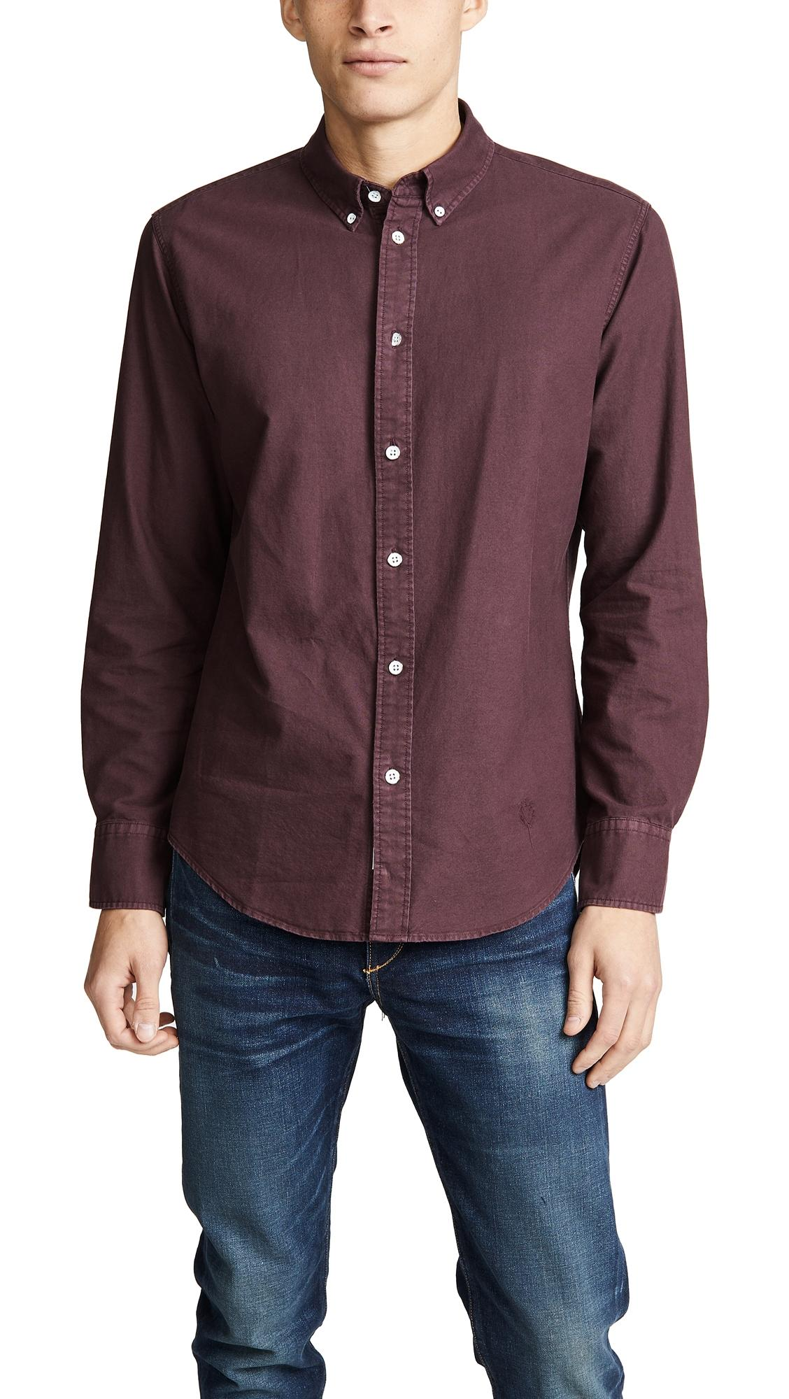 Rag & Bone Fit 2 Tomlin Oxford Shirt In Burgundy