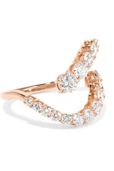 Melissa Kaye Aria Skye 18-karat Rose Gold Diamond Ring