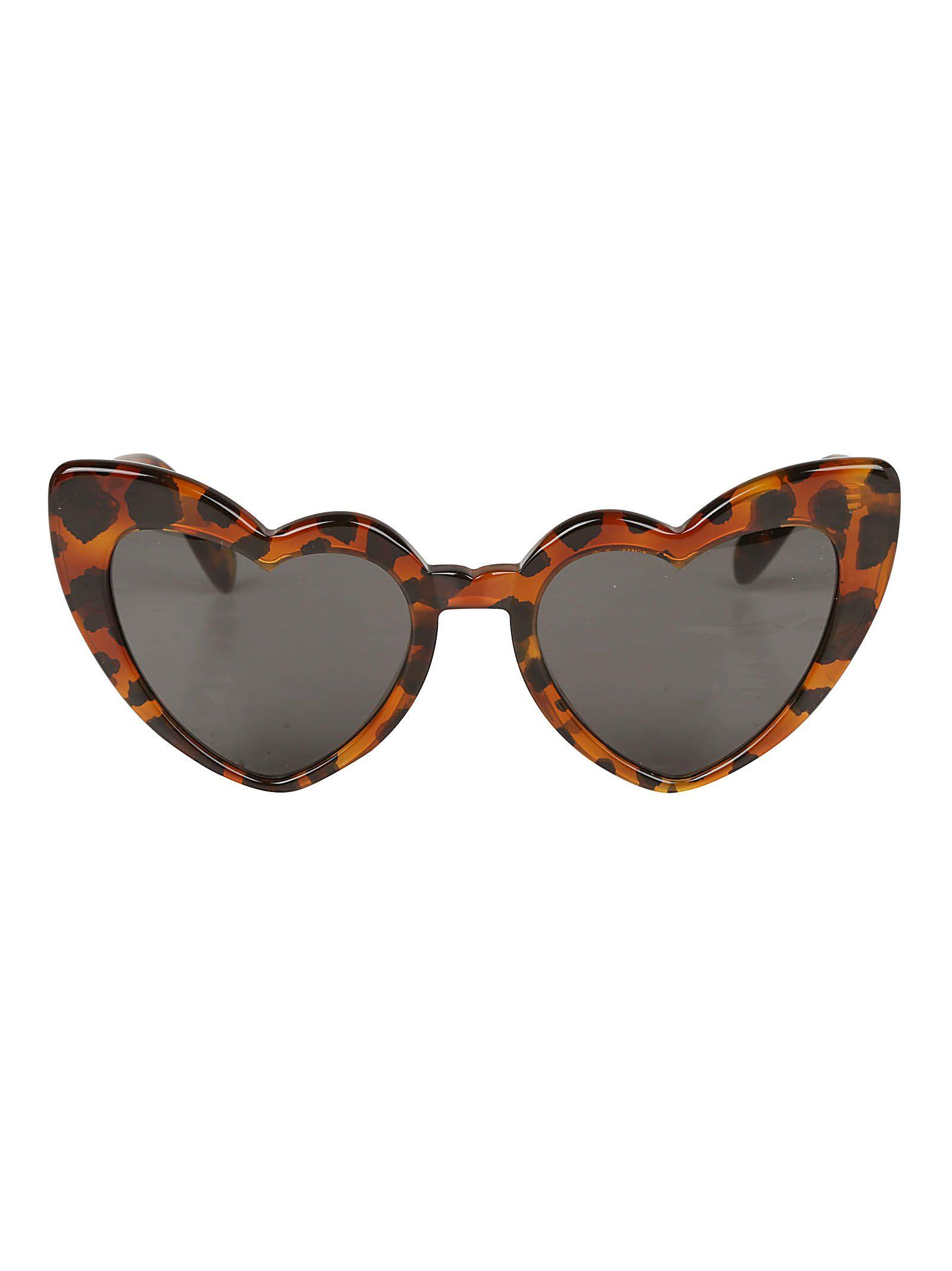 Saint Laurent Loulou Sunglasses In Brown Leopard Grey