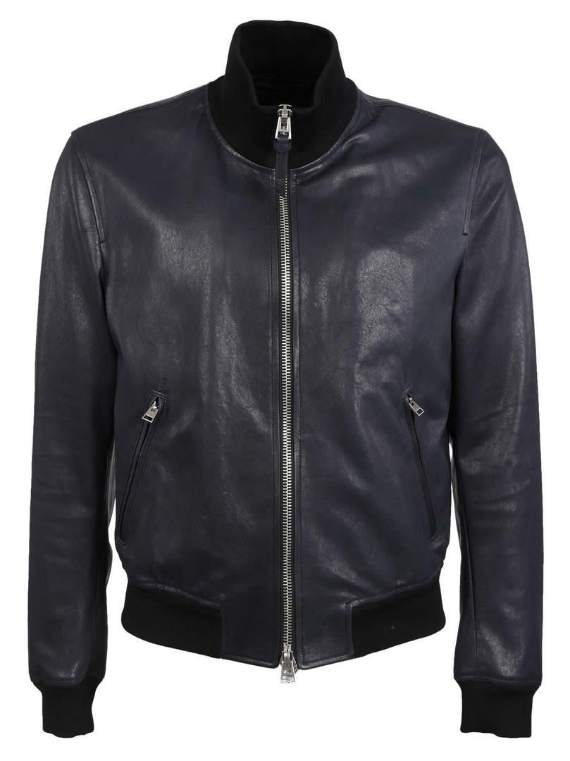 Tom Ford Leather Bomber Jacket In Black