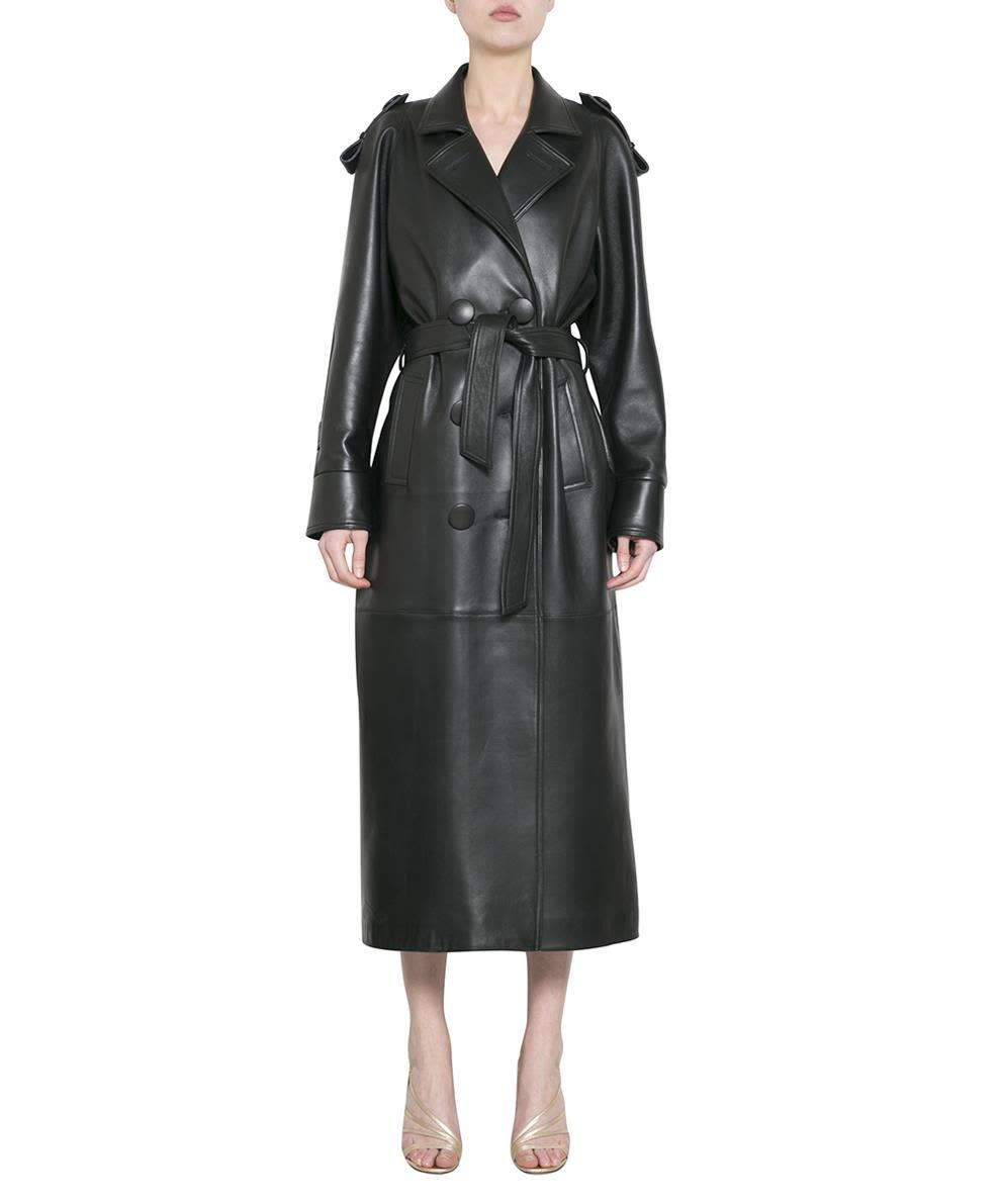 Attico Leather Trench Coat In Nero