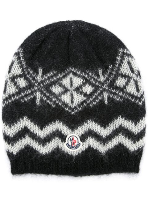 Moncler Patterned Beanie Hat - Schwarz In Black