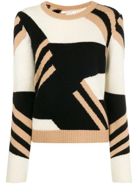 Chinti & Parker Colour Block Crew Neck Sweater - Black