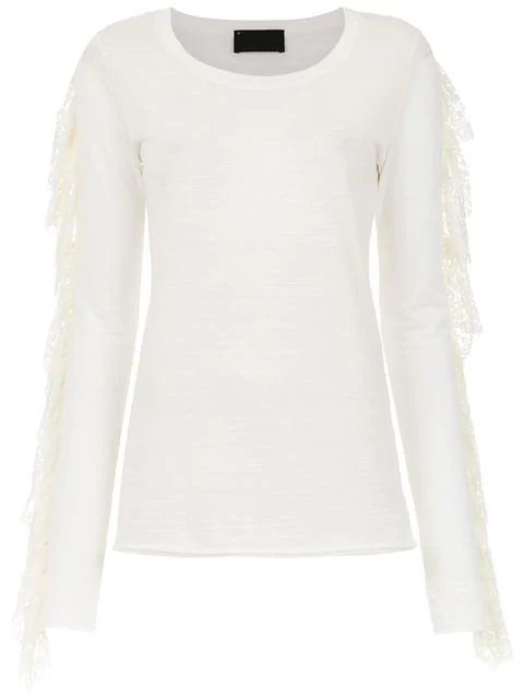 Andrea Bogosian Lace Detail Blouse In White