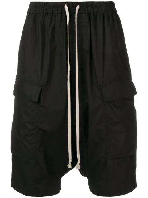 Rick Owens Drkshdw Dropped Crotch Track Shorts - Black