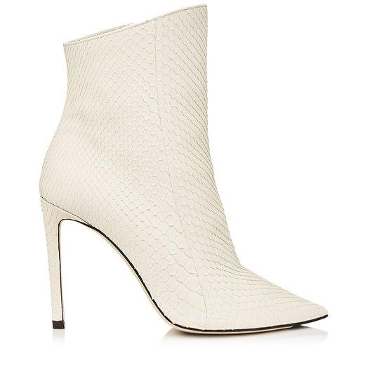 Jimmy Choo Helaine 100 Chalk Matt Python Booties