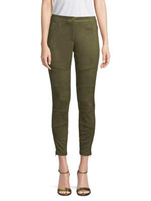 Laundry By Shelli Segal Faux-suede Moto Skinny Pants In Green