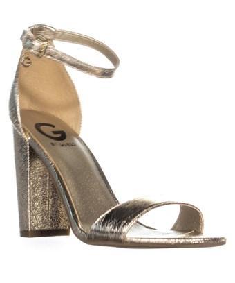 Guess G  Shantel3 Ankle Strap Block Heel Sandals, Gold