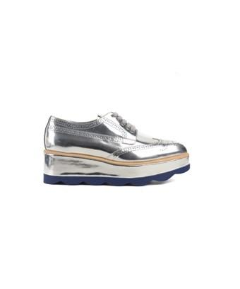 Prada Womens Silver Patent Leather Lace Up Royal Wedge Loafers