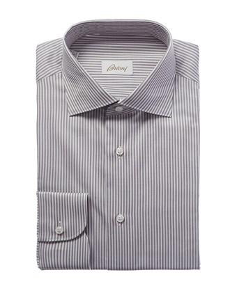 Brioni Fitted Dress Shirt In Grey