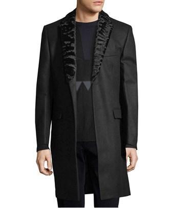 Fendi Solid Wool Coat With Mink Trim In Nocolor