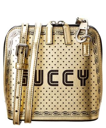 Gucci Guccy Mini Leather Shoulder Bag In Gold