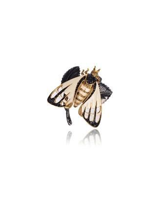 Roberto Cavalli Ivory Enamel Black Stone Winged Bug Leaf Ring In White