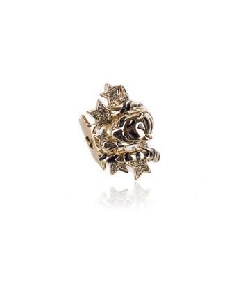 Roberto Cavalli Gold Swarovski Crystal Star Lion Head Wrap Ring