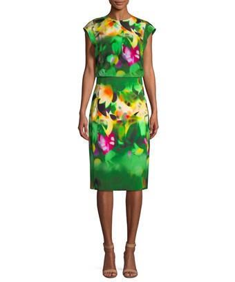 Akris Graphic Print Silk Dress In Nocolor