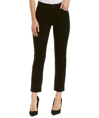 Ag Jeans The Isabelle Immersed Black Corduroy High-rise Straight Crop