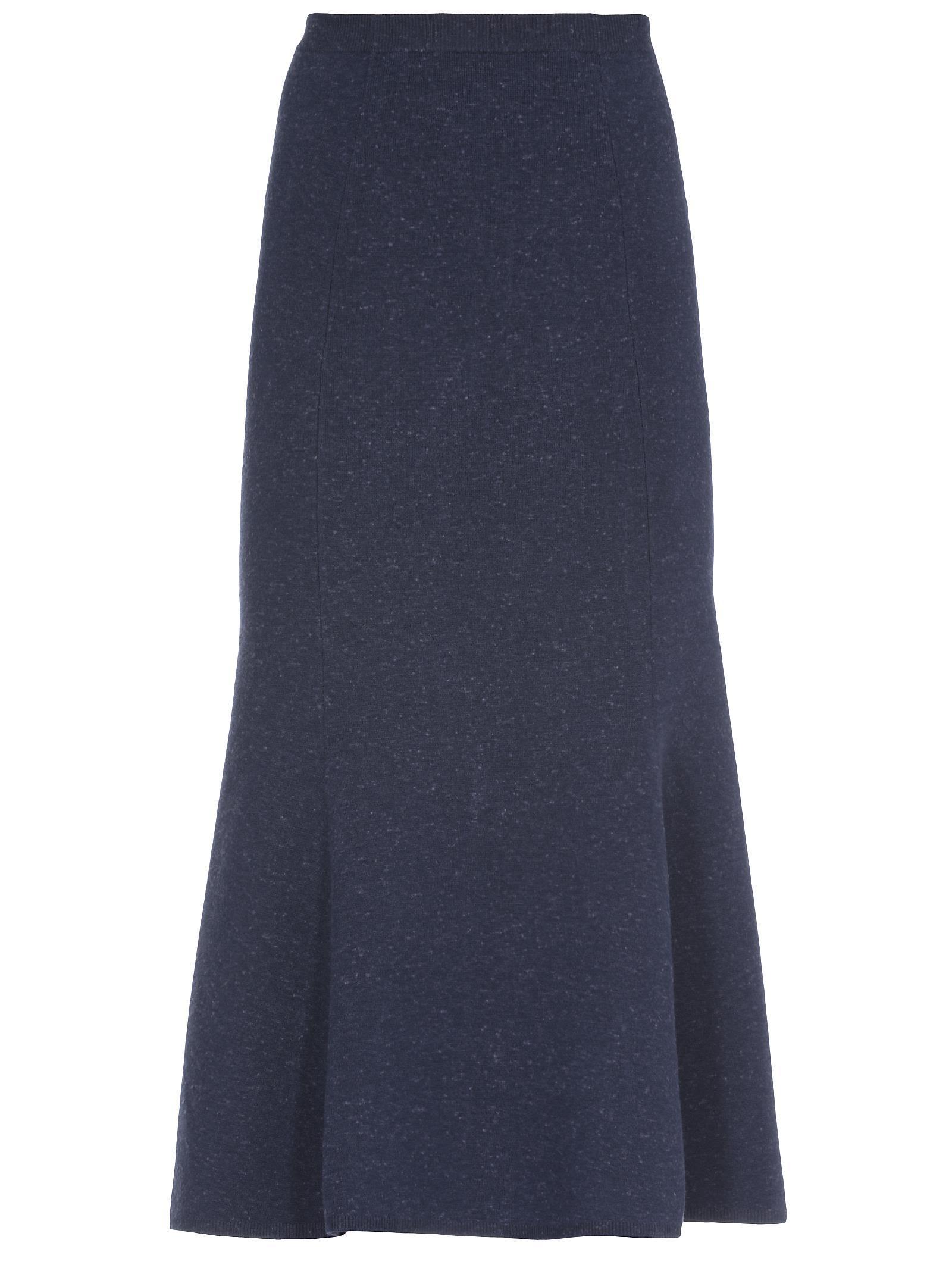 Victoria Beckham Slub Signature Skirt In Navy Melange