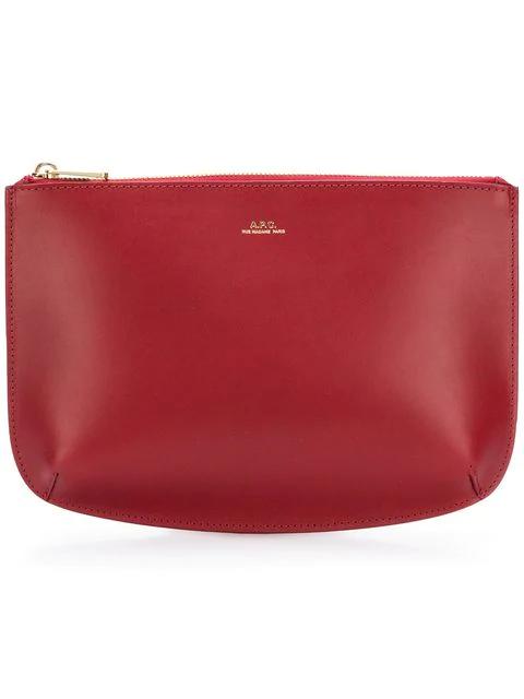 A.p.c. Calf Leather Clutch In Red