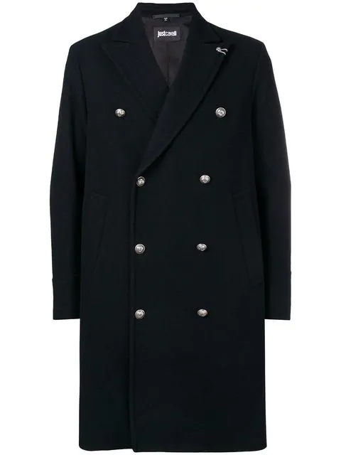 Just Cavalli Double-breasted Fitted Coat - Black