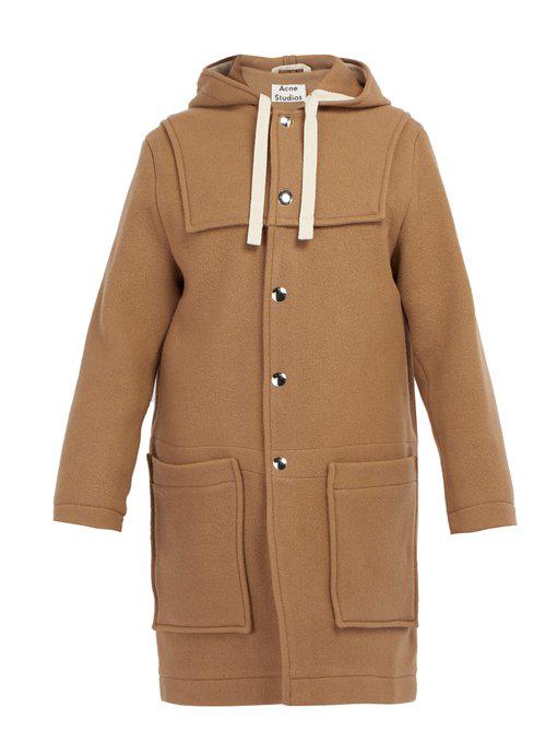 Acne Studios Hooded Patch Pocket Coat In Camel