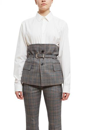 Toga Opening Ceremony Wool Check Corset In Light Gray 23