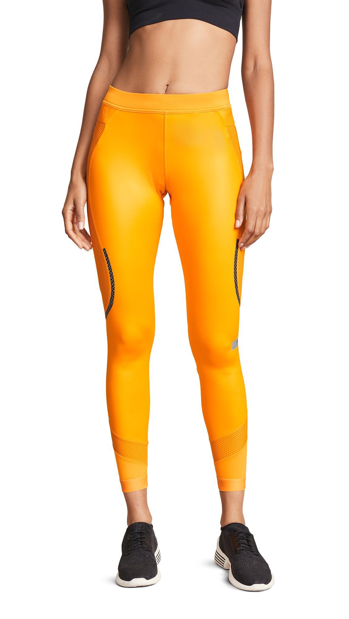 Adidas By Stella Mccartney Run Long Shiny Leggings In Lucky Orange