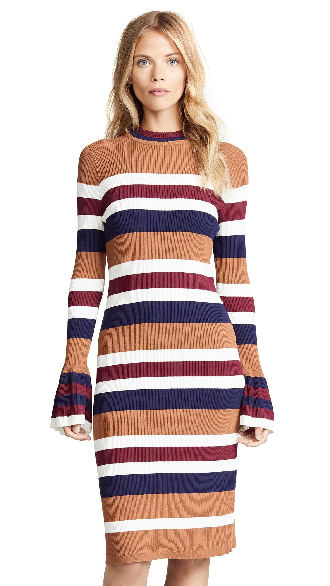 f8227fcc766 Endless Rose Striped Midi Dress In Brown