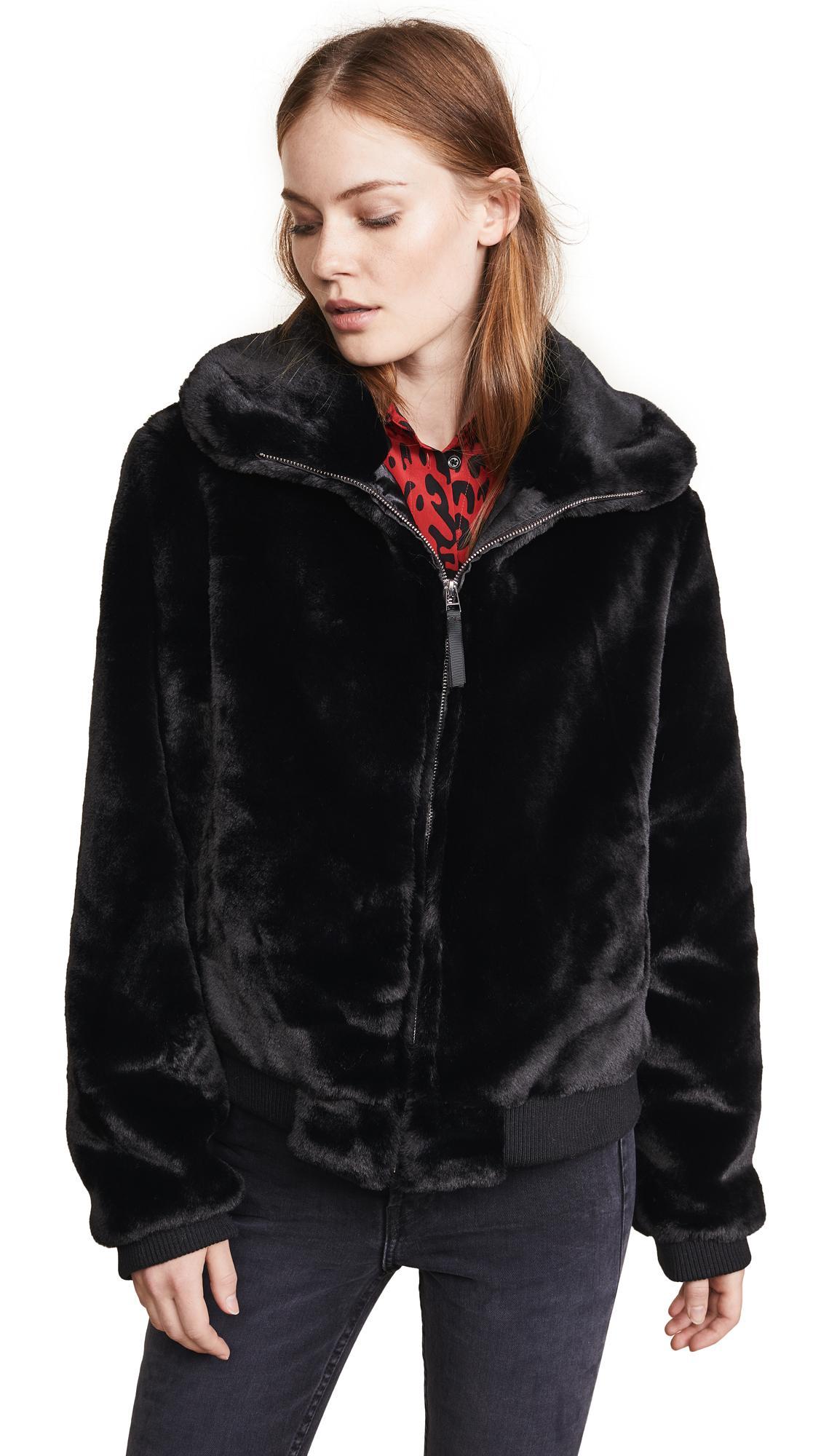 Generation Love Heidi Faux Fur Bomber In Black