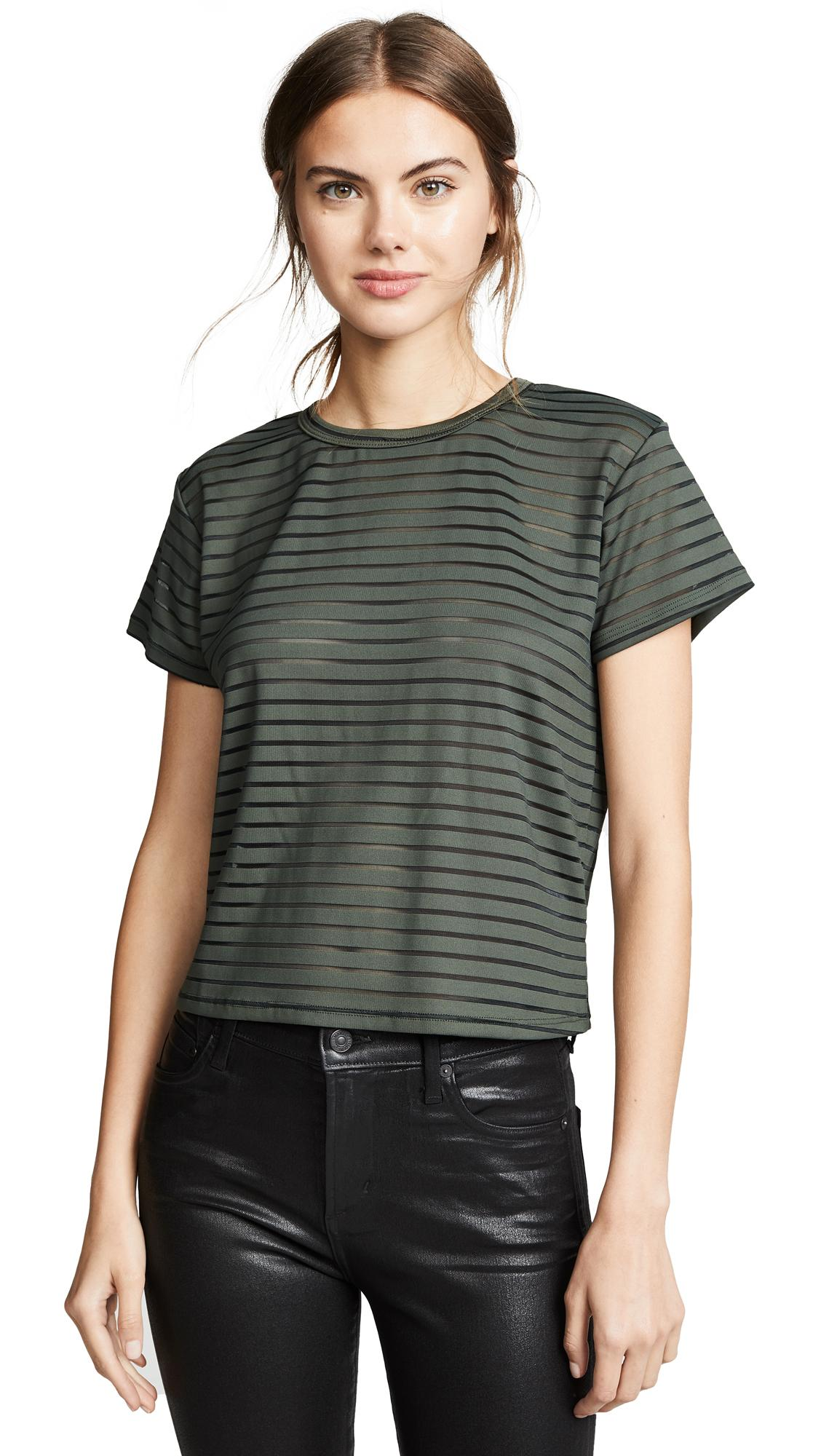 Liana Clothing The Burnout Margo Tee In Hunter/black Stripe