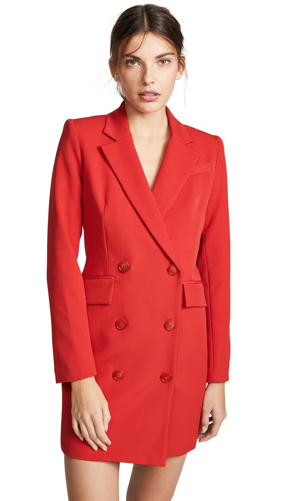 Milly Blazer Mini Dress In Ruby