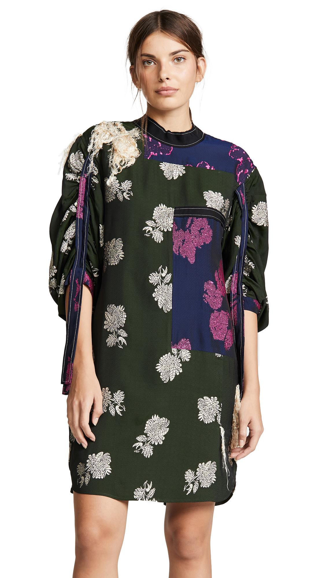 3.1 Phillip Lim Gathered Sleeve Dress In Navy/fuchsia