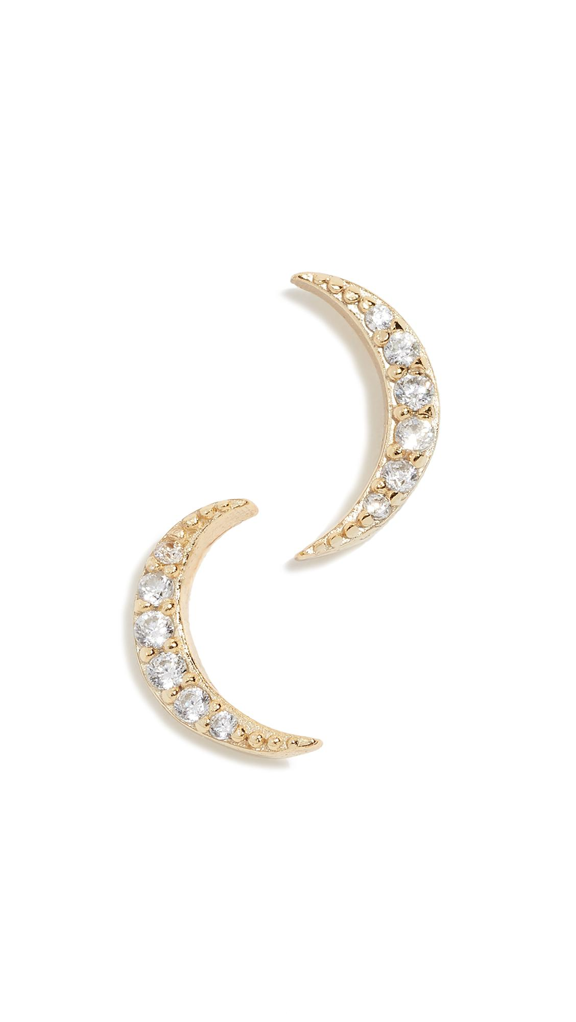 Shashi Moon Pave Studs In Yellow Gold