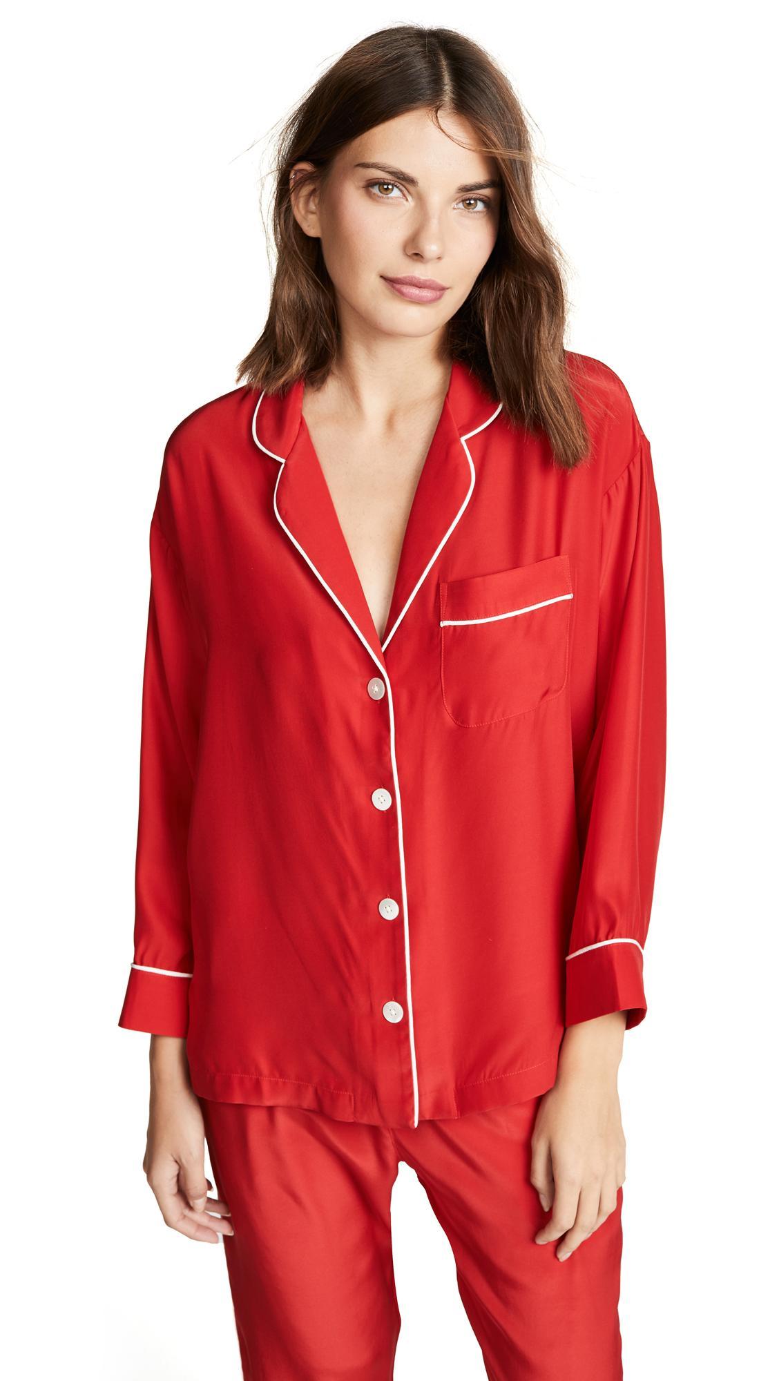 Sleepy Jones Marina Pajama Shirt In Silk Charmeuse Red
