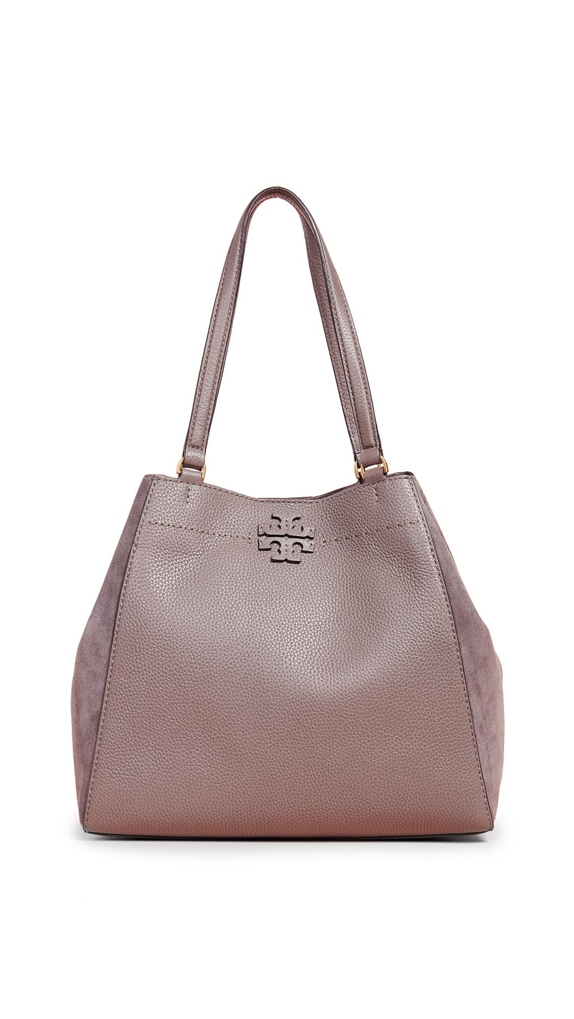 Tory Burch Mcgraw Mixed Media Carryall In Silver Maple