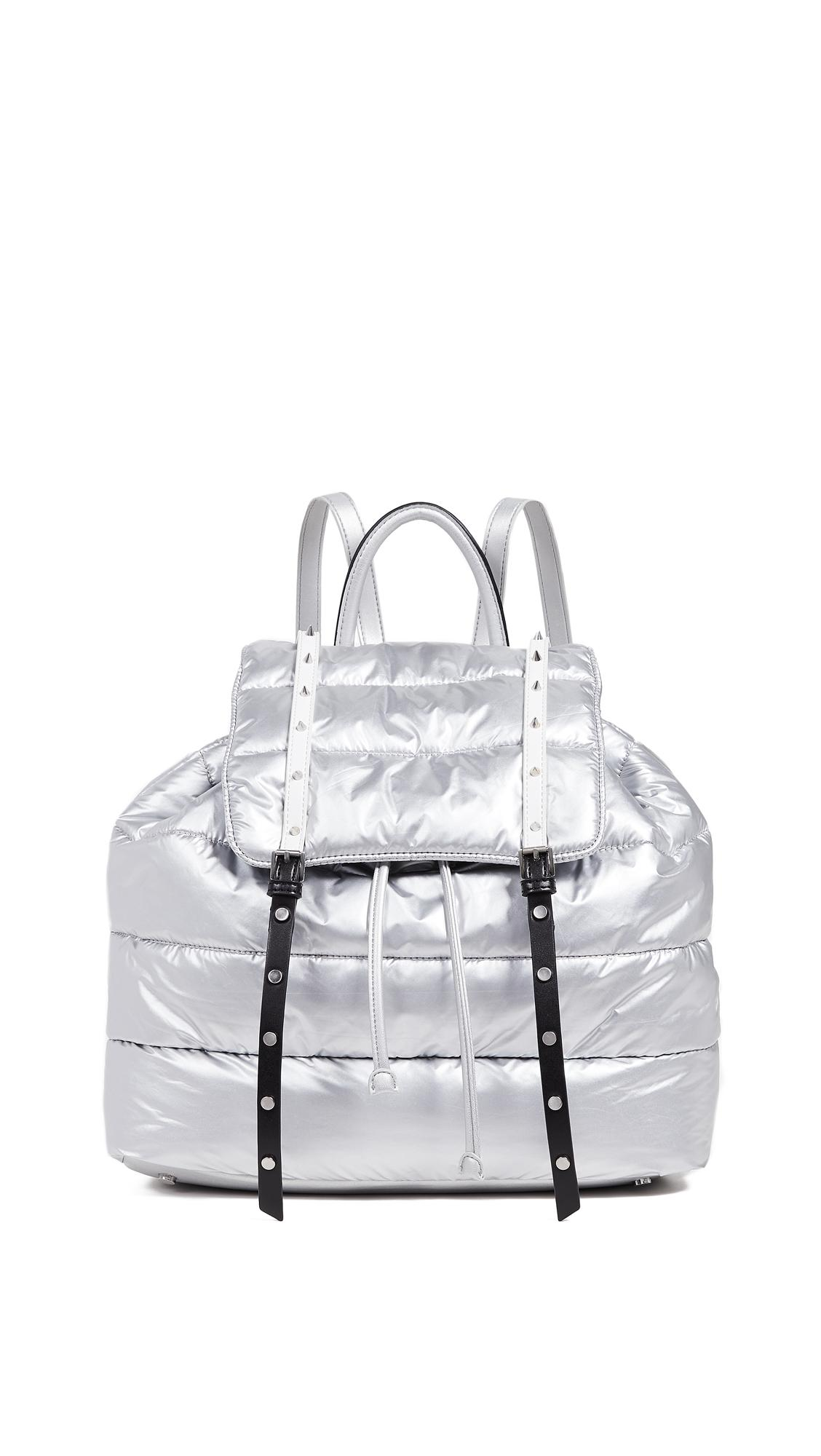 Sam Edelman Branwen Flap Backpack In Silver/black