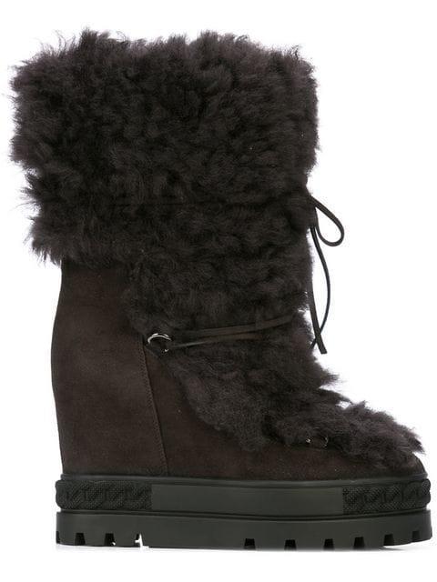 Casadei Wedge Heel Boot - Brown