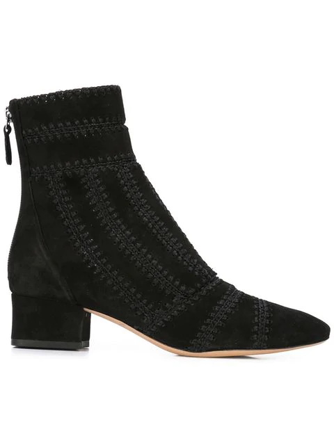 Alexandre Birman Embroidered Ankle Boot - Black