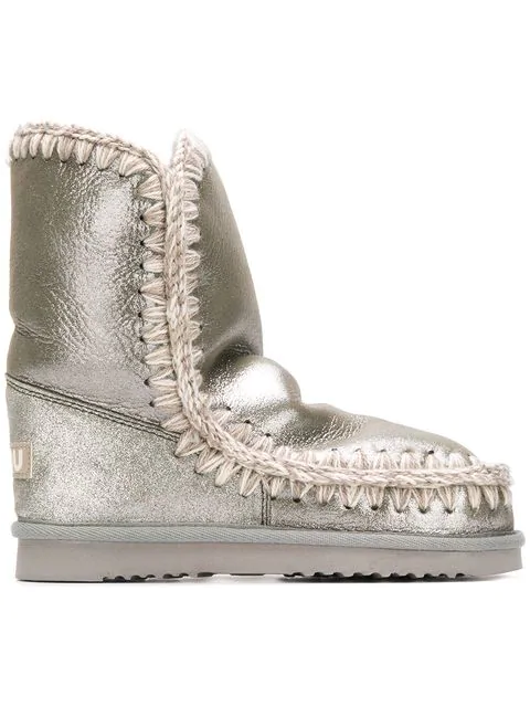 Mou Whipstitched Ankle Boots In Grey