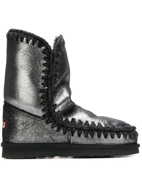 Mou Whipstitched Ankle Boots In Black