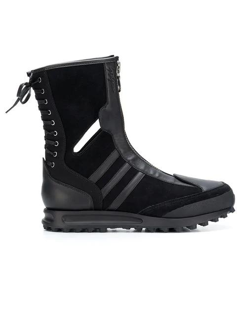 Yohji Yamamoto X Adidas Zip And Lace Boots In Black