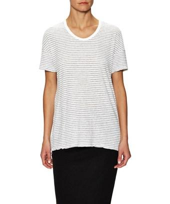 James Perse Split Hem Stripe T-shirt In Nocolor