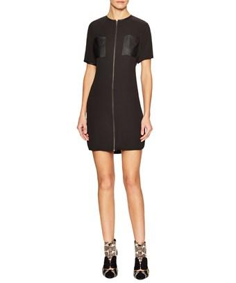 T-bags Los Angeles T Bags Zip Front Patch Pocket Shift Dress In Nocolor